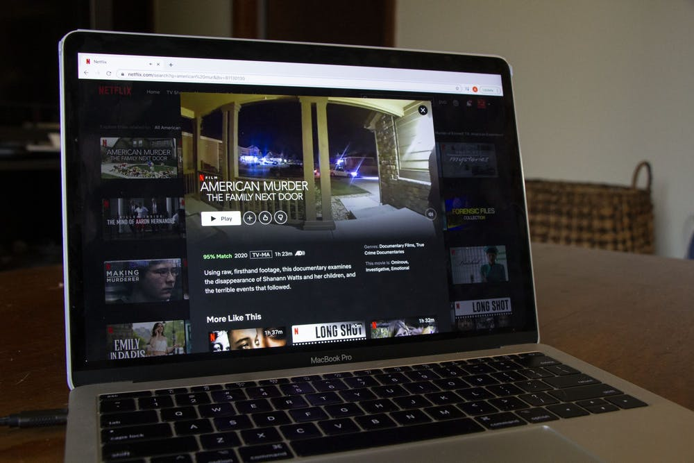 <p>A laptop displays Netflix&#x27;s original &quot;American Murder: The Family Next Door&quot; on Jan. 11. </p>