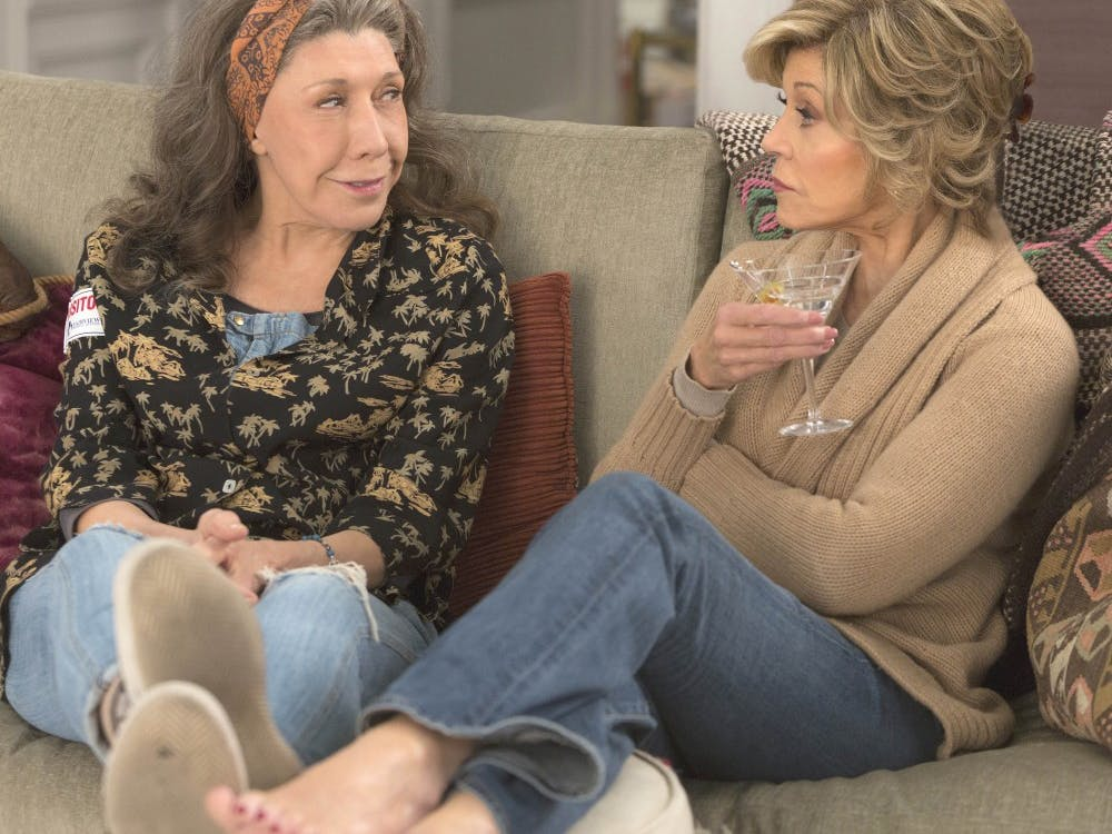 """Lily Tomlin, left, and Jane Fonda play two wives who find themselves almost single again in Netflix's """"Grace and Frankie,"""" now streaming on the site. (Netflix)"""