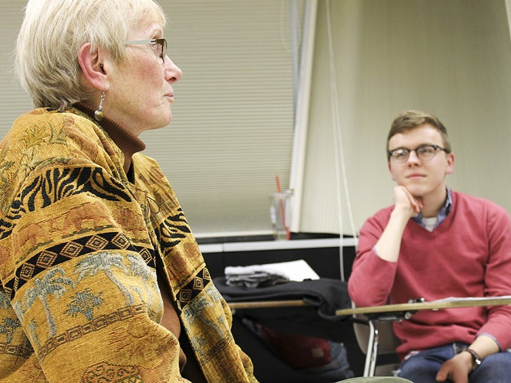 Third year undergraduate Christian Purdy, the president of the IU Collegiate National Association for Music Education, discusses the power and importance of multicultural music with Dr. Mary Goetze, cultural experts, and interested students.