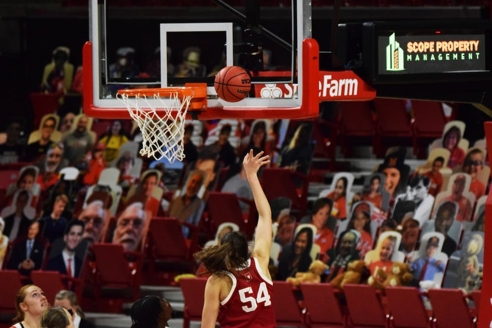 <p>Sophomore forward Mackenzie Holmes shoots a layup Jan. 4 at Xfinity Center in College Park, Maryland. Holmes scored 22 points today in IU&#x27;s win over Northwestern on Sunday.</p>