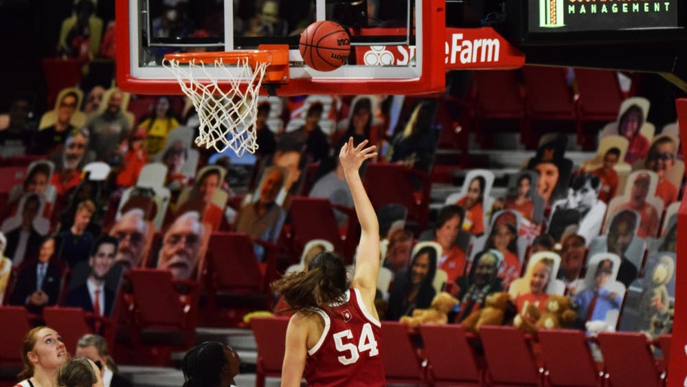 Sophomore forward Mackenzie Holmes shoots a layup Jan. 4 at Xfinity Center in College Park, Maryland. Holmes scored 22 points today in IU's win over Northwestern on Sunday.