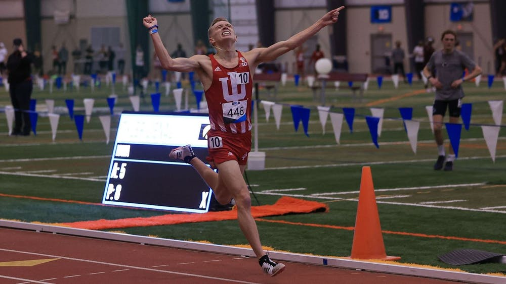 <p>Redshirt senior distance runner Ben Veatch crosses the finish line Thursday at the Big Ten Indoor Championships at the SPIRE Institute in Geneva, Ohio. Veatch won the 3000 meter race and scored 10 points for the Hoosiers on Thursday. </p>