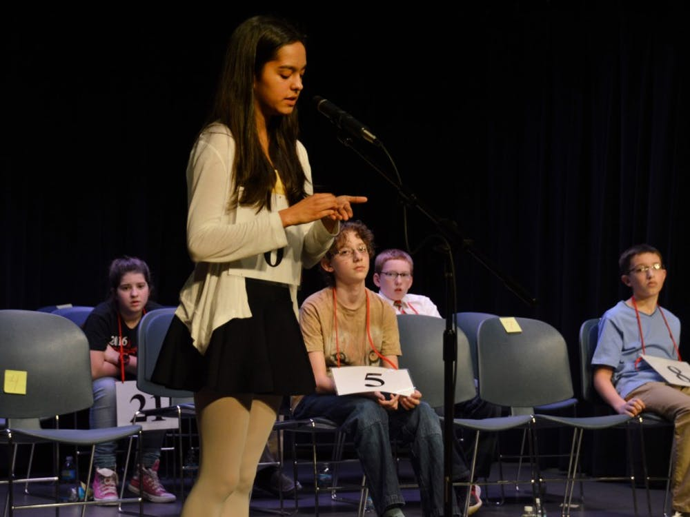 Tara Ganguly, the 2017 IU Bee runner up, spells an early-round word on her hand. The Scripps National Spelling Bee was started in 1925 by the Courier-Journal in Louisville, Kentucky.