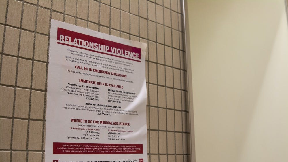 """""""It's On Us"""" fliers are posted in many of the bathrooms on IU's campus. A Sexual Misconduct Student Working Group has released its recommendations regarding the sexual misconduct policy at IU."""