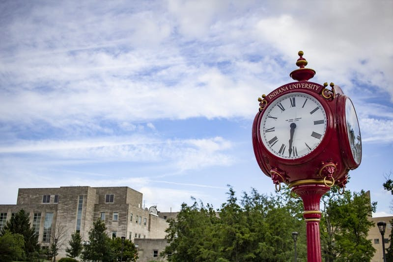 Red clock towers can be found throughout IU's campus.