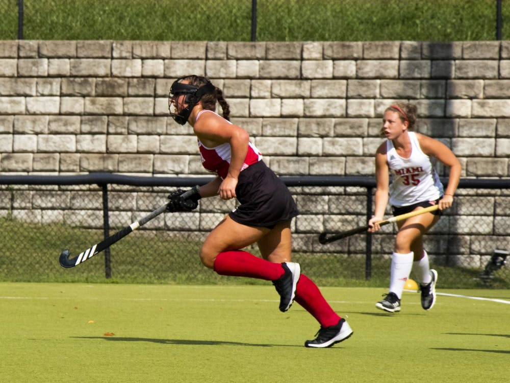 Then-sophomore midfielder Mary Kate Kesler runs downfield Sept. 7, 2020, at IU Field Hockey Complex. The Hoosiers lost their season opener 3-0 to the Rutgers Scarlet Knights on Friday in Virginia Beach, Virginia.