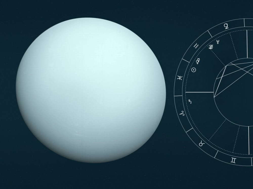 Uranus, left, is the dominant planet in astrology columnist Kathryn de la Rosa's birth chart, right. She wishes she had written a column about dominant planets.