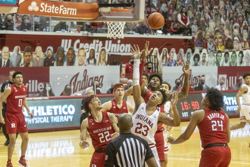 <p>Sophomore Trayce Jackson-Davis shoots the ball Jan. 24 in Simon Skjodt Assembly Hall. At halftime, IU was trailing behind 33-38 against Rutgers. </p>