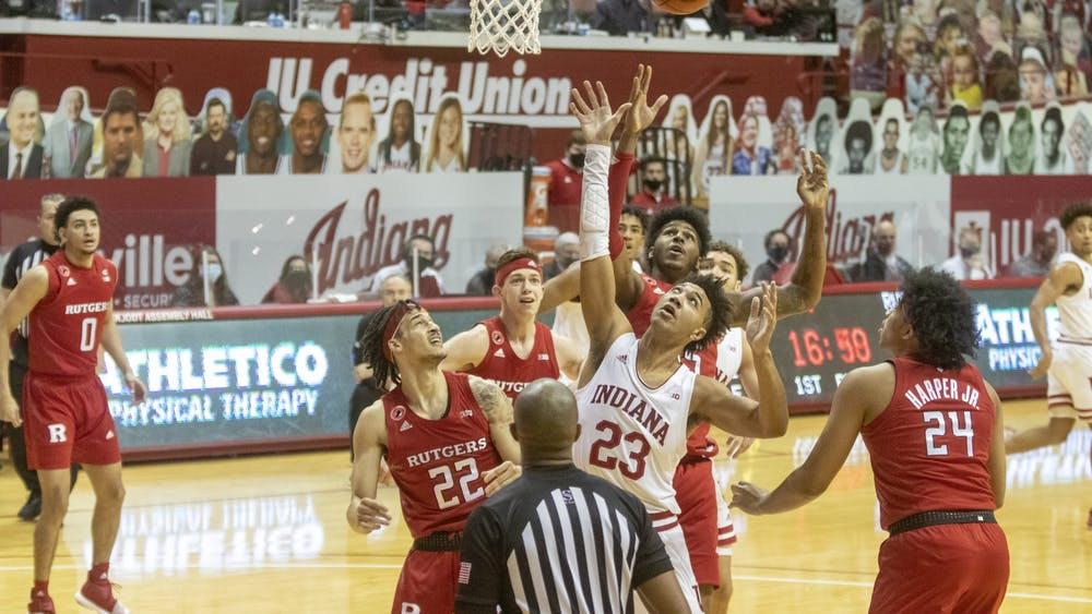 Sophomore Trayce Jackson-Davis shoots the ball Jan. 24 in Simon Skjodt Assembly Hall. At halftime, IU was trailing behind 33-38 against Rutgers.
