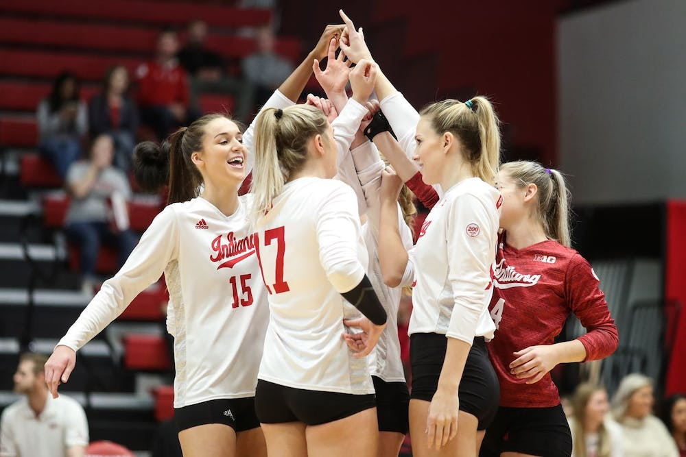 <p>The Hoosiers celebrate a point Nov. 24, 2019, Wilkinson Hall, Bloomington IN, against Michigan State. The team finalized its 2021 schedule on Dec. 30 and will have its first match on Jan. 22 against Nebraska. </p>