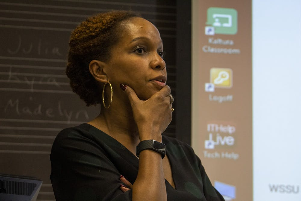 <p>Dr. Imani Perry talks Nov. 4 at a black music panel in the Simon Music Library. Perry is a professor at Princeton University. </p>