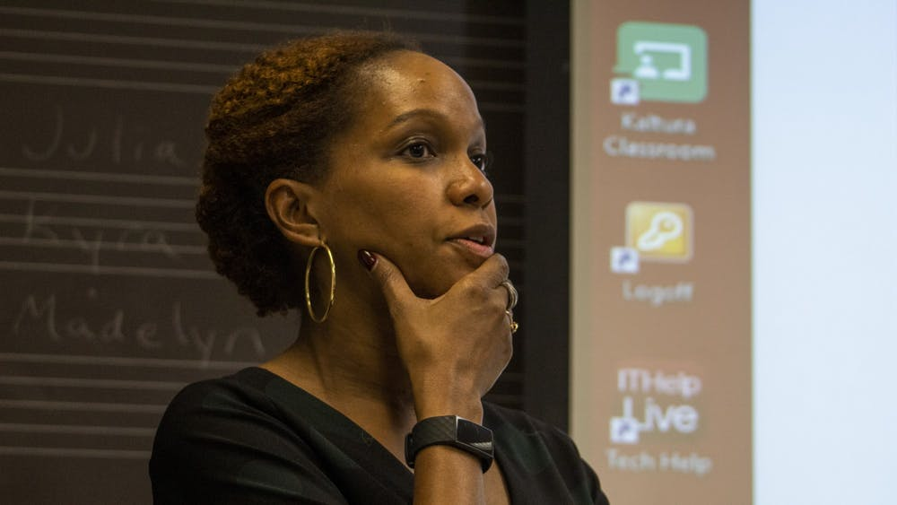 Dr. Imani Perry talks Nov. 4 at a black music panel in the Simon Music Library. Perry is a professor at Princeton University.