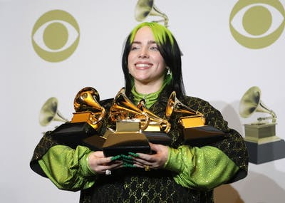 Billie Eilish poses Jan. 26 backstage at the 62nd Grammy Awards at the Staples Center in Los Angeles. Eilish won five Grammys.