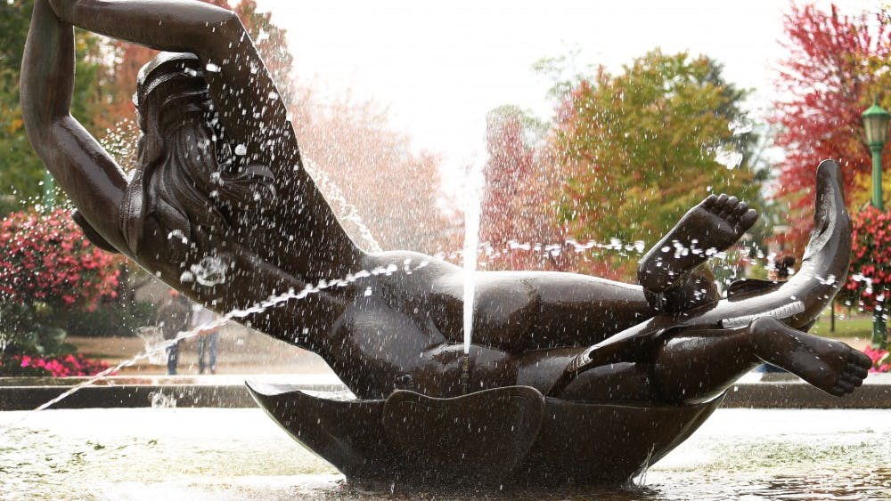 The sculpture of the goddess Venus at the Showalter Fountain is located in the Fine Arts Plaza. It is one of the most abused and controversial statues on campus because of the nudity.
