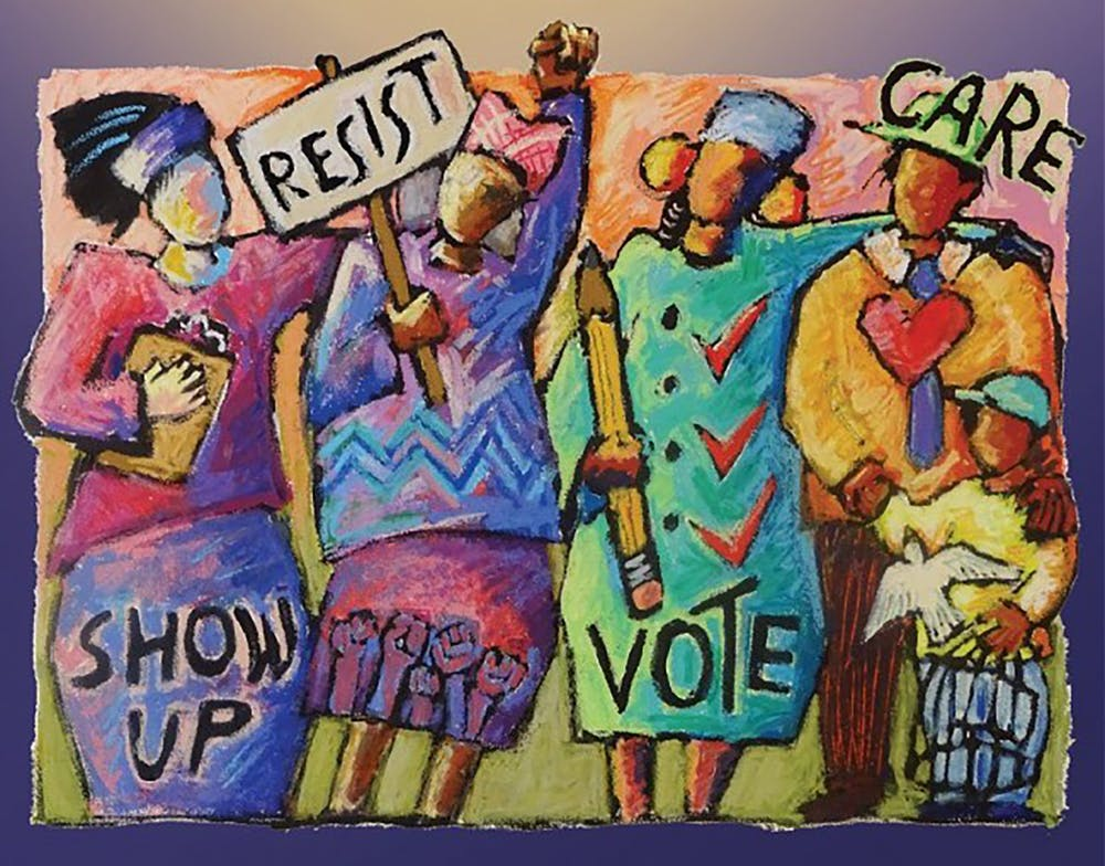 <p>&quot;Power to the People,&quot; a Ann Altman painting from 2019, depicts women standing up for voter rights. The League of Women Voters of Indiana is sponsoring a virtual series featuring films that discuss voter suppression, with upcoming presentations on Thursday and Feb. 11. </p>