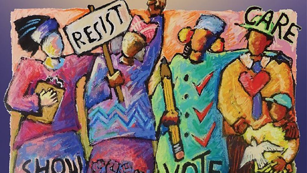 """Power to the People,"" a Ann Altman painting from 2019, depicts women standing up for voter rights. The League of Women Voters of Indiana is sponsoring a virtual series featuring films that discuss voter suppression, with upcoming presentations on Thursday and Feb. 11."