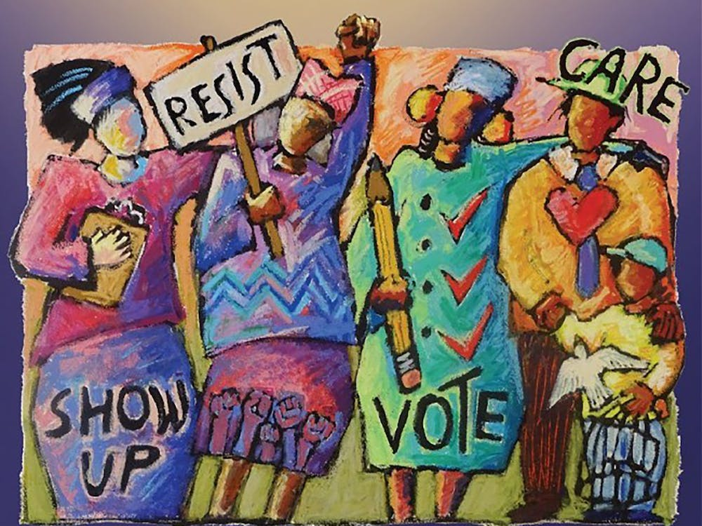 """""""Power to the People,"""" a Ann Altman painting from 2019, depicts women standing up for voter rights. The League of Women Voters of Indiana is sponsoring a virtual series featuring films that discuss voter suppression, with upcoming presentations on Thursday and Feb. 11."""