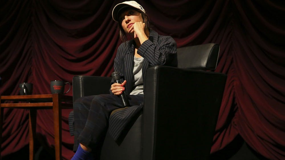"""Filmmaker Ana Lily Amirpour gives a lecture and Q&A session hosted by the IU cinema Friday.  Amirpour, known for the film """"A Girl Walks Home Alone at Night"""" spoke of dropping her biology major, being a ski bum and the creative process."""