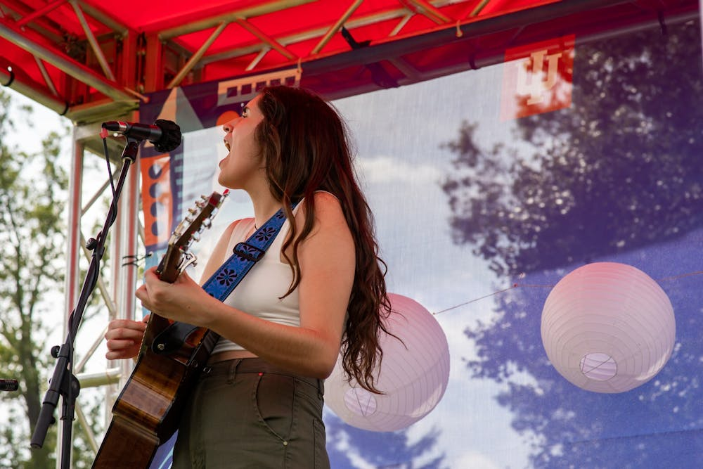 <p>IU junior Sarah Cassidy sings at an event. Cassidy will be performing at People&#x27;s Par from 4:30-6 p.m. Thursday.<br/><br/></p>