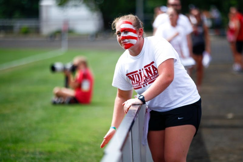 Freshman Katherine Cornell cheers on the women's soccer team Sept. 16 at Bill Armstrong field. IU will face Penn State and Maryland to close out the regular season.