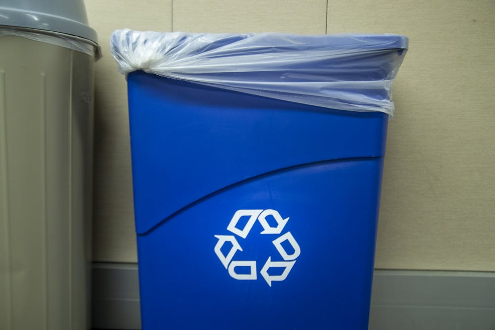 <p>A recycling bin is seen Jan. 16 in the Indiana Daily Student newsroom. </p>