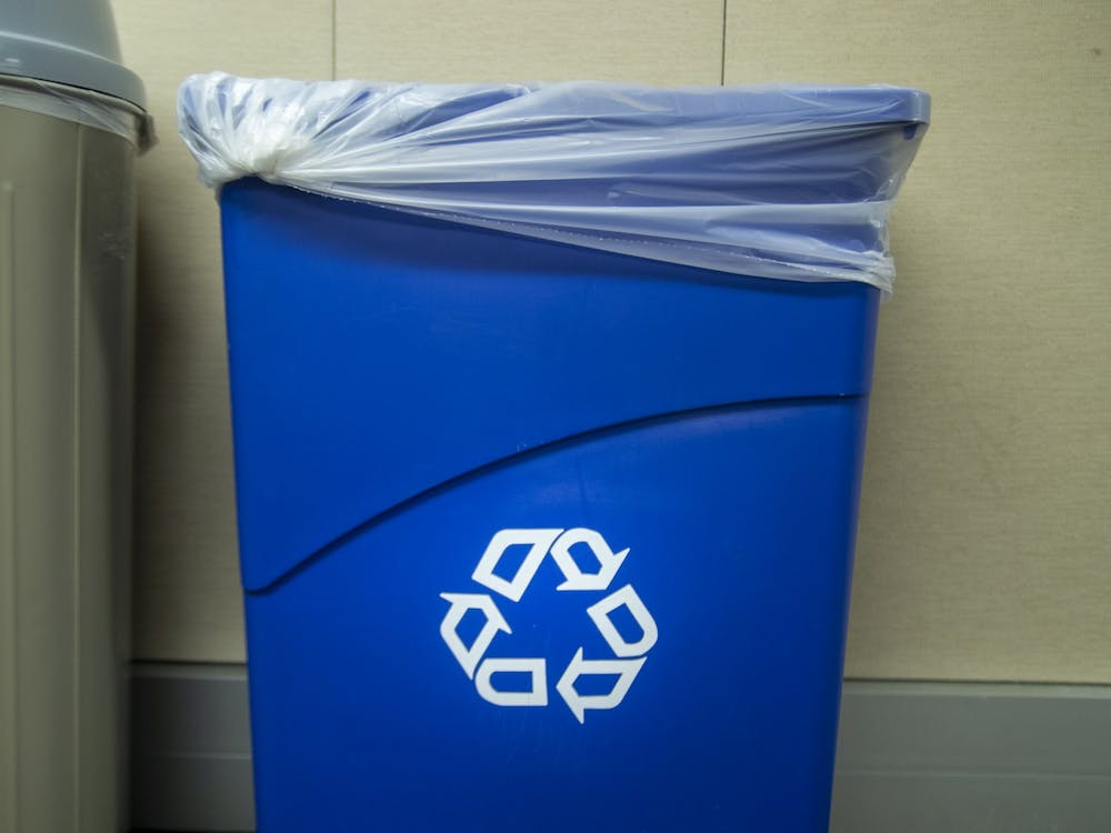 A recycling bin is seen Jan. 16 in the Indiana Daily Student newsroom.