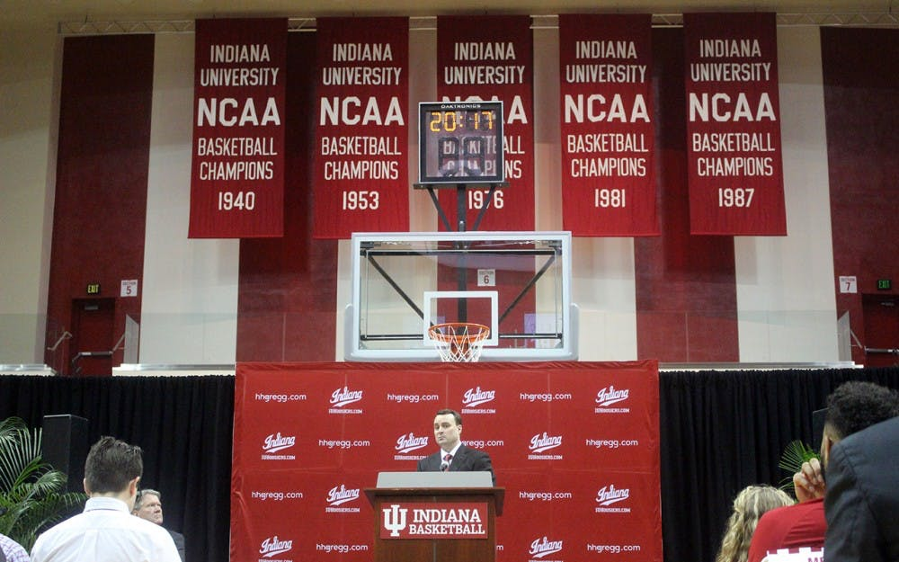 <p>New IU men's basketball head coach Archie Miller addresses the media in a press conference on Monday, March 27.</p>