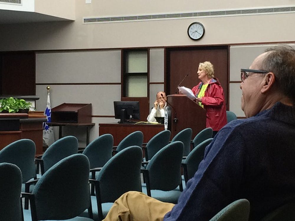Cheryl Underwood addresses the Bloomington Common Council, ending a nearly decade-long battle over a zoning ordinance during the City Council meeting Wednesday evening at City Hall.