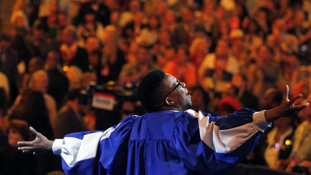 A gospel singer dances during the Democratic National Convention on Wednesday at the Time Warner Cable Arena in Charlotte.