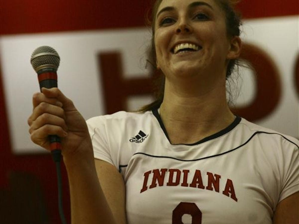 Taylor Wittmer addresses the crowd during the senior night festivities Saturday in University Gym. The Hoosiers defeated Illinois and Wisconsin this weekend and earned an invitation to the NCAA tournament.