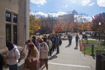 Students line up to vote outside the Indiana Memorial Union on Nov. 6, 2018. In recognition for its efforts in the Big Ten Voting Challenge during last year's midterm elections, IU was awarded the Silver Campus Seal for excellence in student voter engagement.