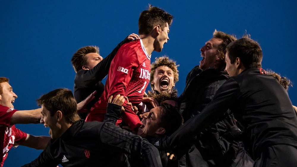 <p>The IU men&#x27;s soccer team celebrates after their 2-0 win against Maryland on Wednesday at Bill Armstrong Stadium. Sophomore Victor Bezerra scored two goals during the game. </p>