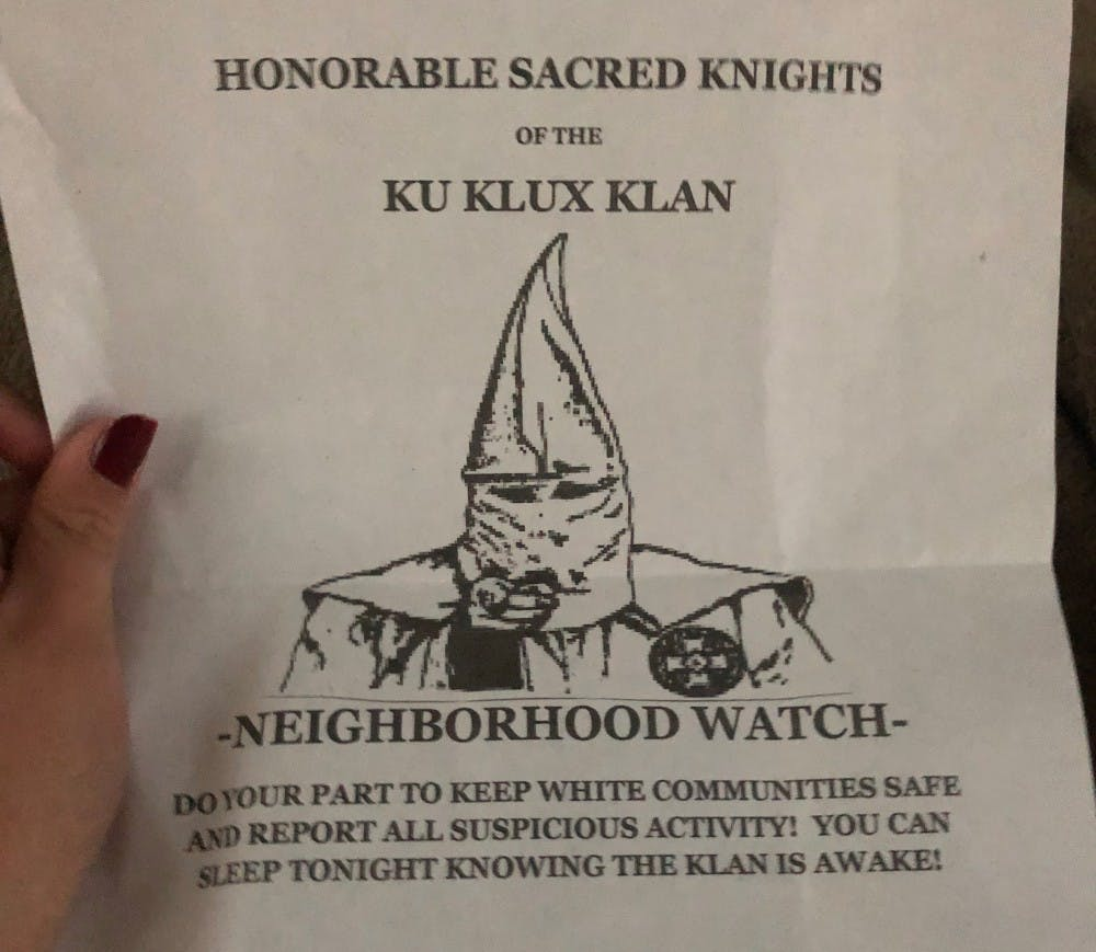 <p>Recruitment flyers for the Ku Klux Klan appeared Monday in driveways and parking lots of multiple Bloomington residences. The City of Bloomington has asked residents to report flyers to the Bloomington Police Department.</p>