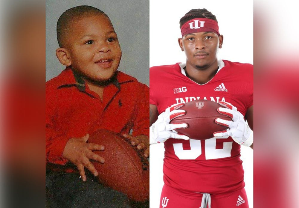 <p>A photo of fifth year DeVondre Love as a child is pictured next to a photo of him presently. </p>