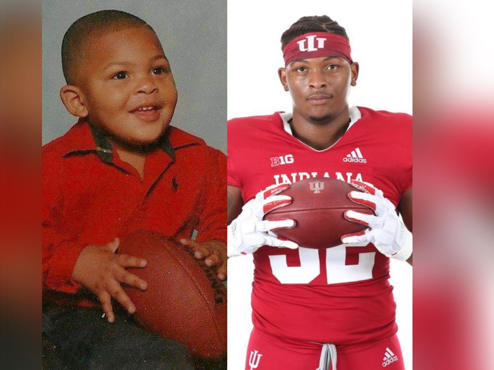 A photo of fifth year DeVondre Love as a child is pictured next to a photo of him presently.