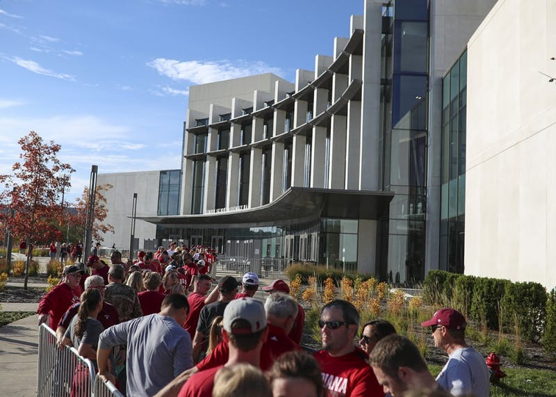 Fans wait in line at Simon Skjodt Assembly Hall prior to the doors opening for Hoosier Hysteria on Oct. 21.
