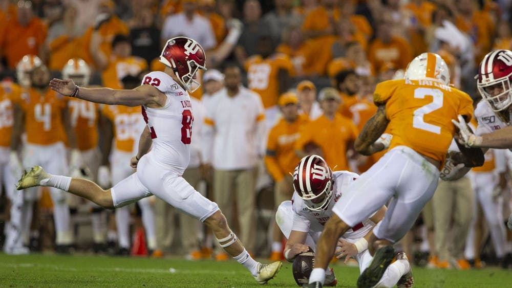 Senior Logan Justus prepares to take 52 yard field goal, which he later missed. IU lost to University of Tennessee in the Gator Bowl in Jacksonville, Florida 22-23.