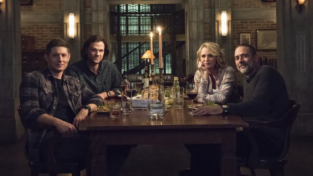 "Actors Jensen Ackles, Jared Padalecki, Samantha Smith and Jeffrey Dean Morgan star in the television show ""Supernatural."""