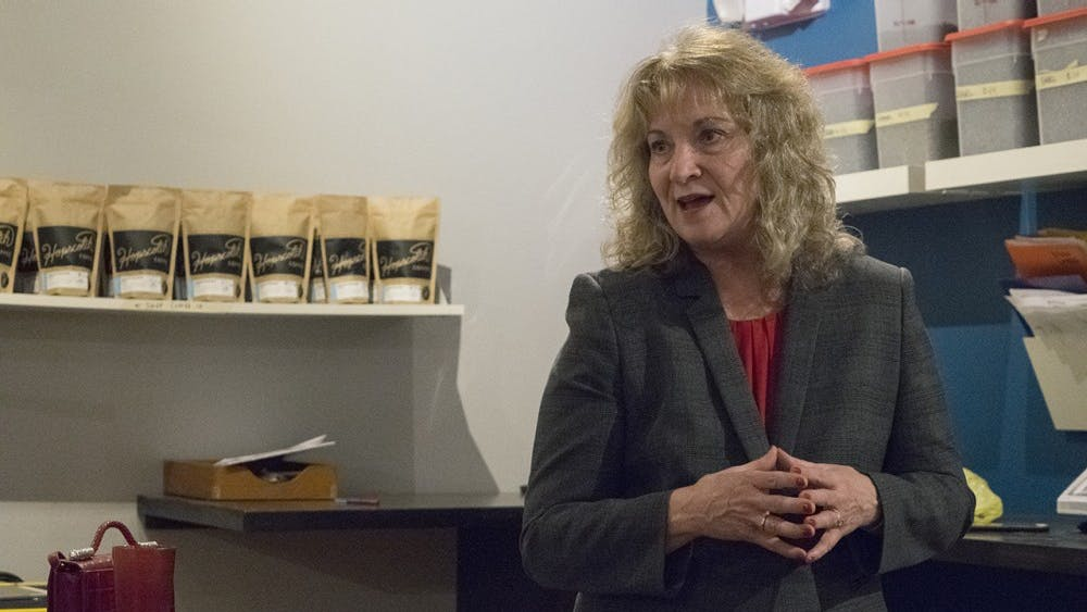 Glenda Ritz, Indiana superintendent of public instruction, speaks to a room of people at Hopscotch Coffee Monday evening about her 2016 campaign for re-election. Ritz spoke about what she has accomplished during the past 4 years and what remains to be done in Indiana education.