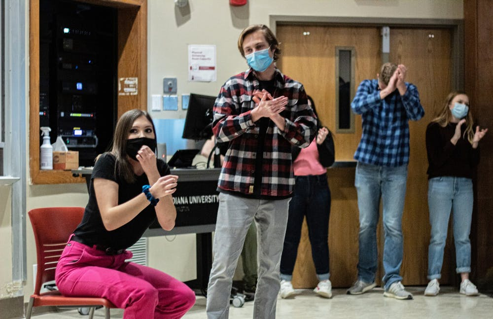 <p>Members of the Full Frontal Comedy cast perform during a show at Ballentine Hall on March 5. This was the organization&#x27;s first in-person performance since the pandemic began.</p>