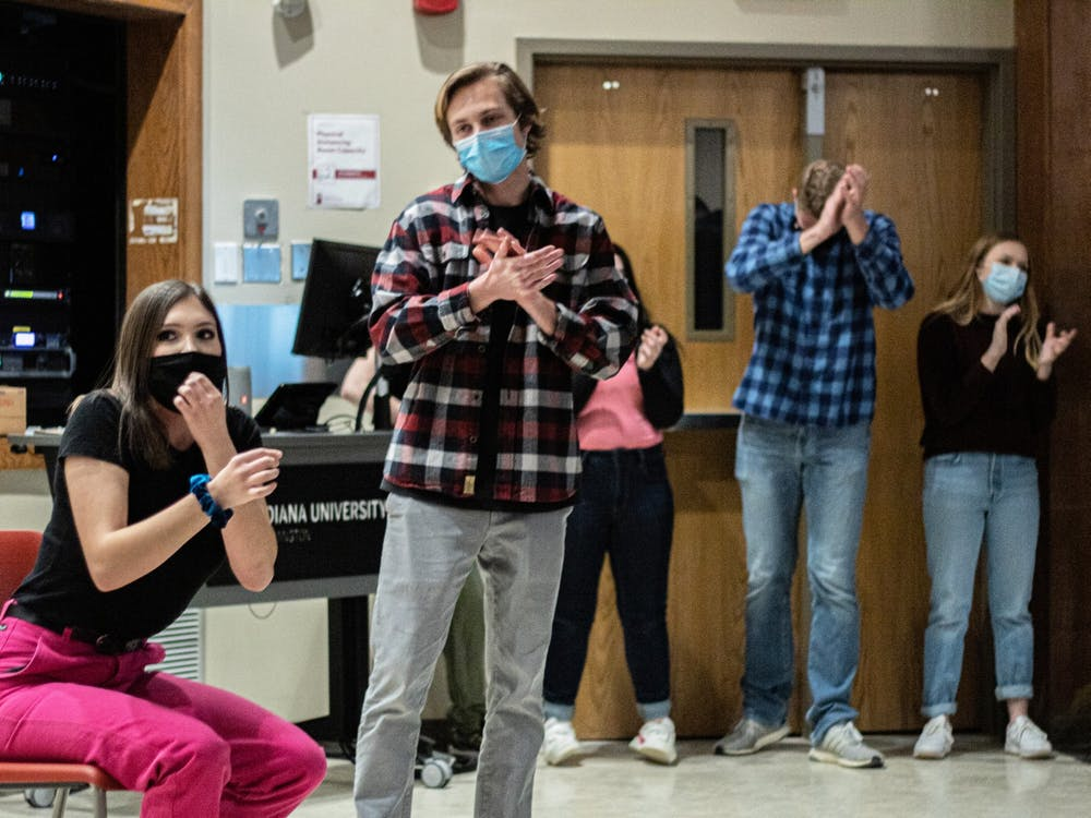 Members of the Full Frontal Comedy cast perform during a show at Ballentine Hall on March 5. This was the organization's first in-person performance since the pandemic began.