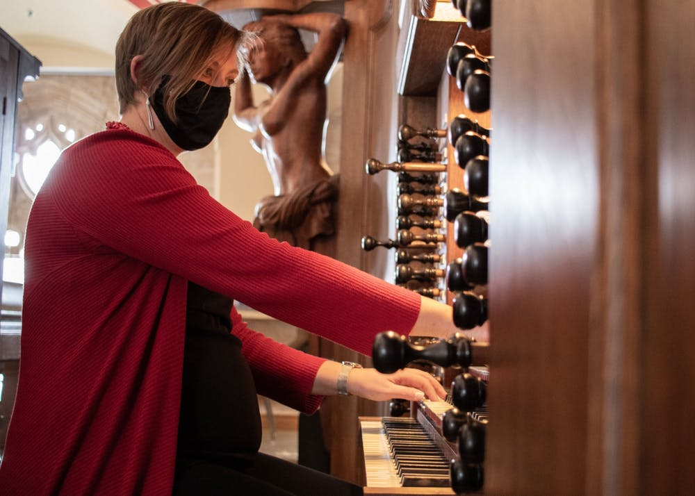 <p>Organ student Susan Powell taps  the keys of the Webb-Elrich Grand Organ Feb. 18 in Alumni Hall. Powell is currently doing graduate studies in organ, composition, and choral conducting at IU&#x27;s Jacobs School of Music.</p>