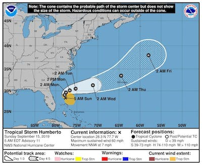 Tropical Storm Humberto could strengthen into a hurricane but will stay offshore from the U.S.
