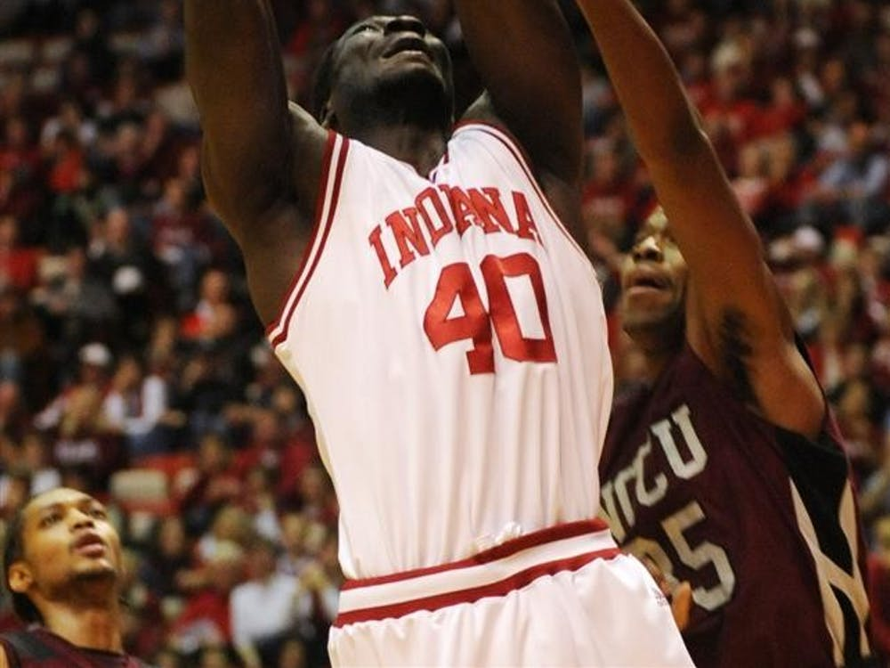 IU center Tijan Jobe goes in for a layup during a game on Saturday, Dec. 19, 2009, at Assembly Hall. IU won 81-58.