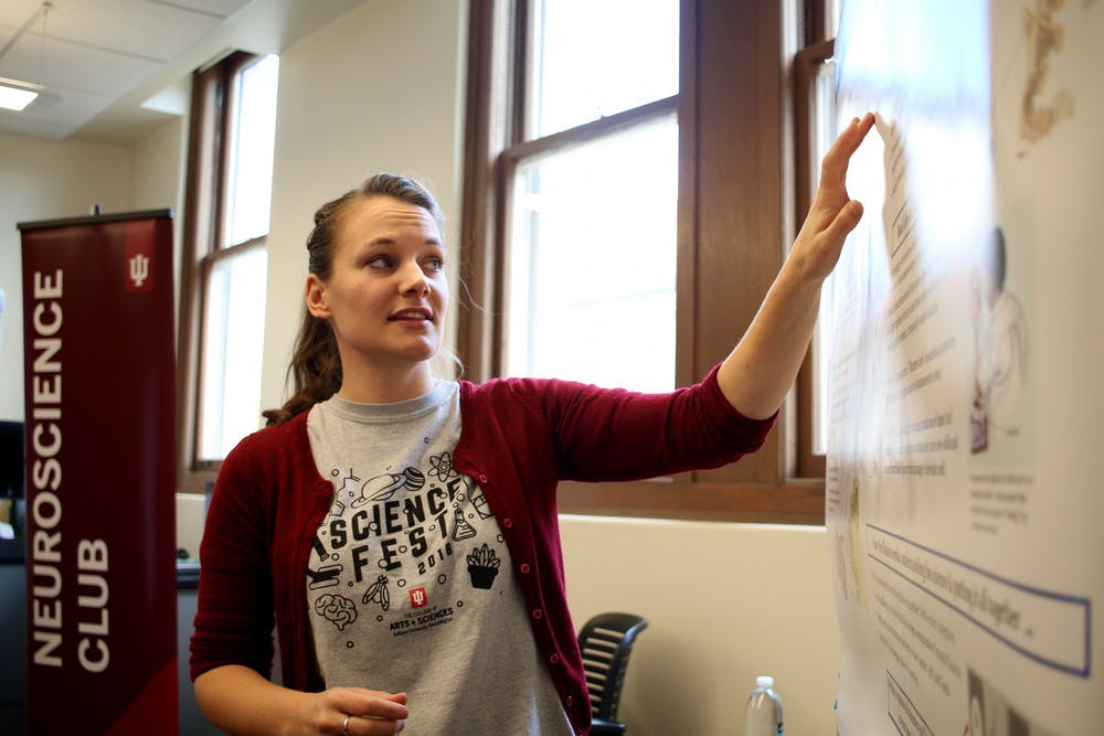 <p>Psychology professor Kendra Bunner teaches students at the Science Fest on Oct. 27, 2018. IU spokesperson Chuck Carney said effective planning and budget management allowed the university to avoid laying off faculty and staff.</p>