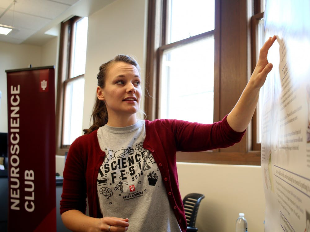 Psychology professor Kendra Bunner teaches students at the Science Fest on Oct. 27, 2018. IU spokesperson Chuck Carney said effective planning and budget management allowed the university to avoid laying off faculty and staff.