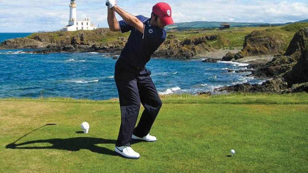 Jorge Campillo tees off over rocks and water at the 2008 British Amateur Championships at the Ailsa Golf Course in Turnberry, Scotland. Campillo will replace Jon Rahm on Spain's Olympics team