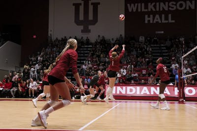 IU senior Victoria Brisack sets the ball against Purdue on Oct. 9 at Wilkinson Hall. IU volleyball will play at Maryland on Wednesday night.