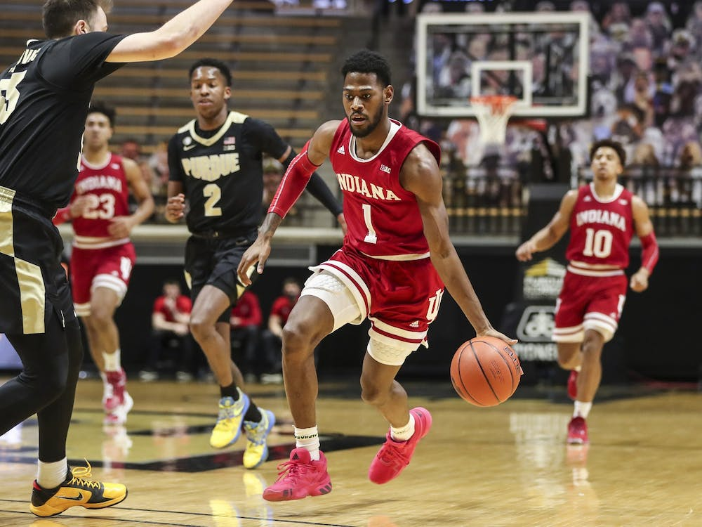 Senior guard Al Durham dribbles the ball during the game between Purdue and IU on Saturday at the Mackey Complex in West Lafayette, Indiana. IU fell to Purdue 67-58.