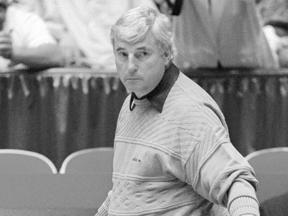 """Former IU basketball coach Bob Knight watches his team practice in 1992 during the NCAA West Regional in Albuquerque, New Mexico. IU athletics is re-airing IU men's basketball games and will later add football and women's basketball in its new """"Hoosier Classic"""" series on the IU Hoosiers All Access Facebook page."""